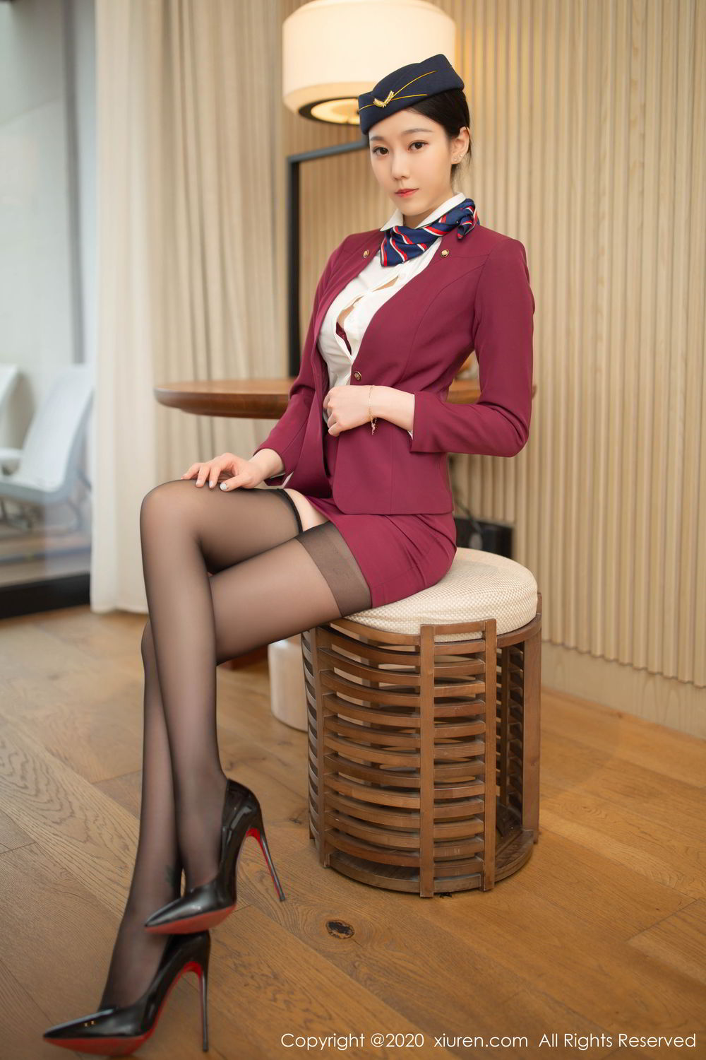 [XiuRen] Vol.2161 An Ran Maleah 3P, An Ran Maleah, Black Silk, Stewardess, Underwear, Uniform, Xiuren