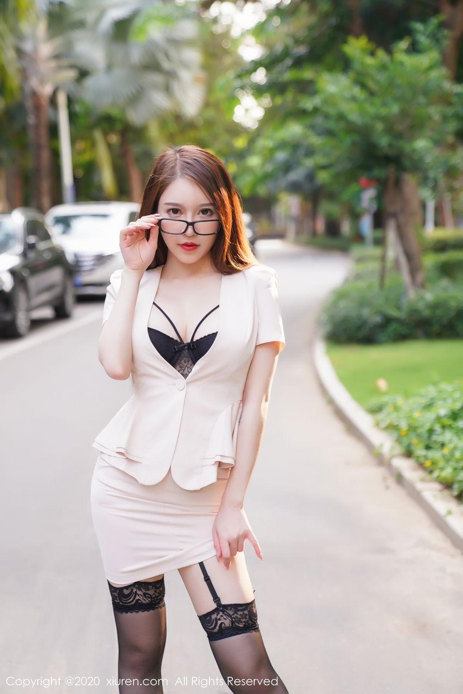 [XiuRen] Vol.2170 Yu Tu Miki 18P, Black Silk, Uniform, Xiuren, Yu Tu M I K I