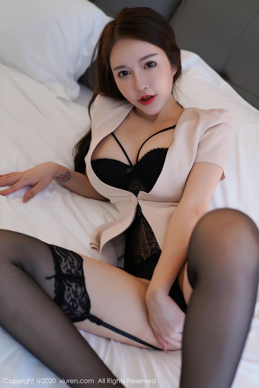 [XiuRen] Vol.2170 Yu Tu Miki 61P, Black Silk, Uniform, Xiuren, Yu Tu M I K I