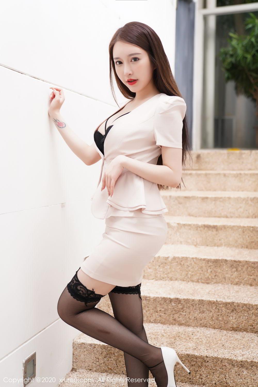[XiuRen] Vol.2170 Yu Tu Miki 7P, Black Silk, Uniform, Xiuren, Yu Tu M I K I