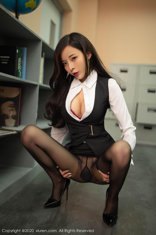 [XiuRen] Vol.2172 Chen Xiao Miao 50P, Black Silk, Chen Xiao Miao, Underwear, Xiuren