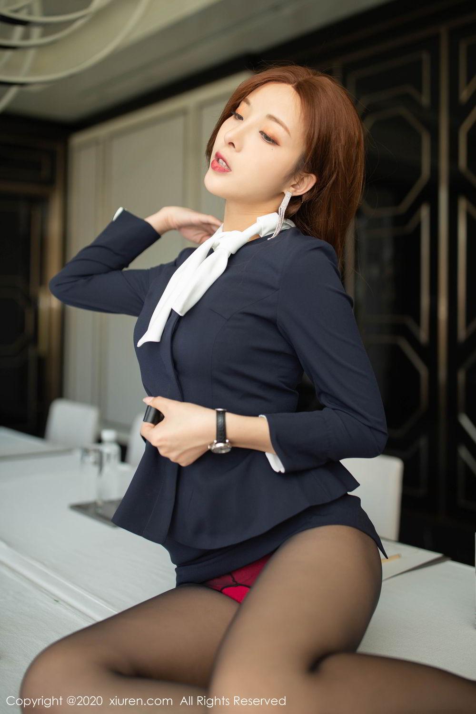[XiuRen] Vol.2213 Chen Xiao Miao 13P, Black Silk, Chen Xiao Miao, Underwear, Uniform, Xiuren