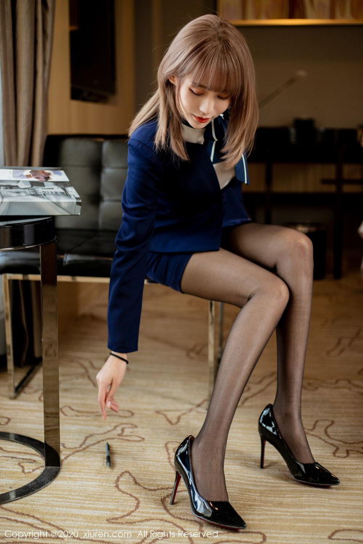[XiuRen] Vol.2224 Zhou Mu Xi 10P, Black Silk, Underwear, Uniform, Xiuren, Zhou Mu Xi