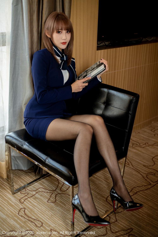 [XiuRen] Vol.2224 Zhou Mu Xi 15P, Black Silk, Underwear, Uniform, Xiuren, Zhou Mu Xi