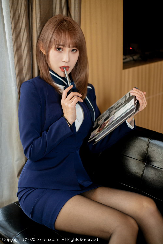 [XiuRen] Vol.2224 Zhou Mu Xi 17P, Black Silk, Underwear, Uniform, Xiuren, Zhou Mu Xi