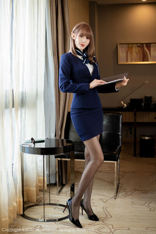 [XiuRen] Vol.2224 Zhou Mu Xi 1P, Black Silk, Underwear, Uniform, Xiuren, Zhou Mu Xi