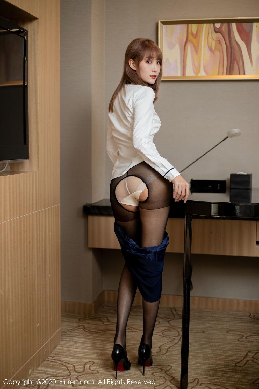 [XiuRen] Vol.2224 Zhou Mu Xi 34P, Black Silk, Underwear, Uniform, Xiuren, Zhou Mu Xi