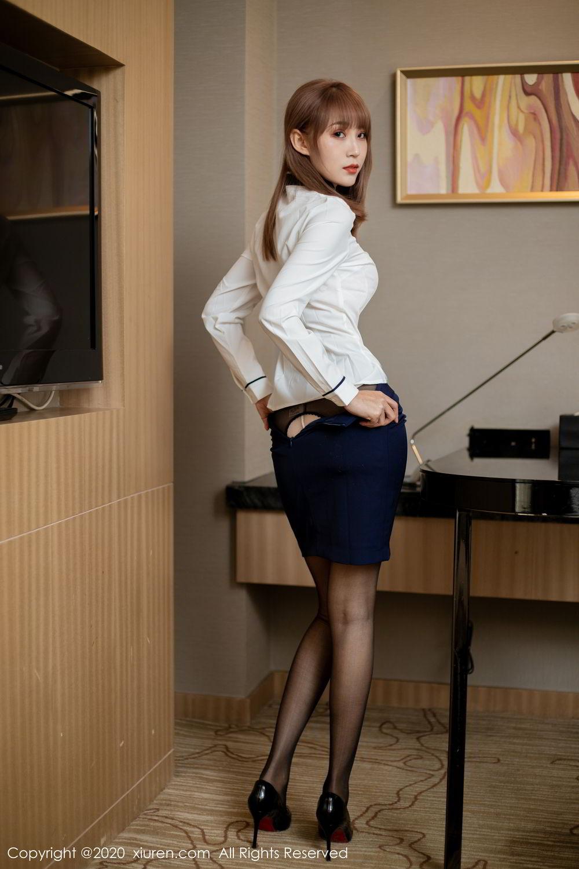 [XiuRen] Vol.2224 Zhou Mu Xi 35P, Black Silk, Underwear, Uniform, Xiuren, Zhou Mu Xi