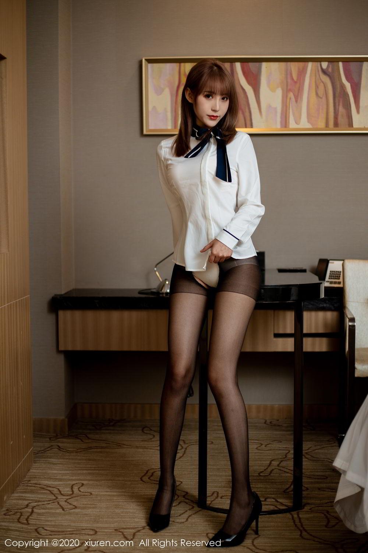 [XiuRen] Vol.2224 Zhou Mu Xi 36P, Black Silk, Underwear, Uniform, Xiuren, Zhou Mu Xi