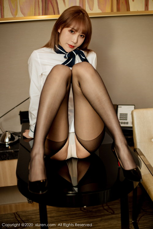 [XiuRen] Vol.2224 Zhou Mu Xi 37P, Black Silk, Underwear, Uniform, Xiuren, Zhou Mu Xi
