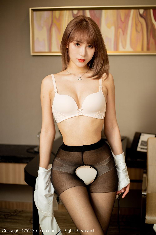 [XiuRen] Vol.2224 Zhou Mu Xi 44P, Black Silk, Underwear, Uniform, Xiuren, Zhou Mu Xi