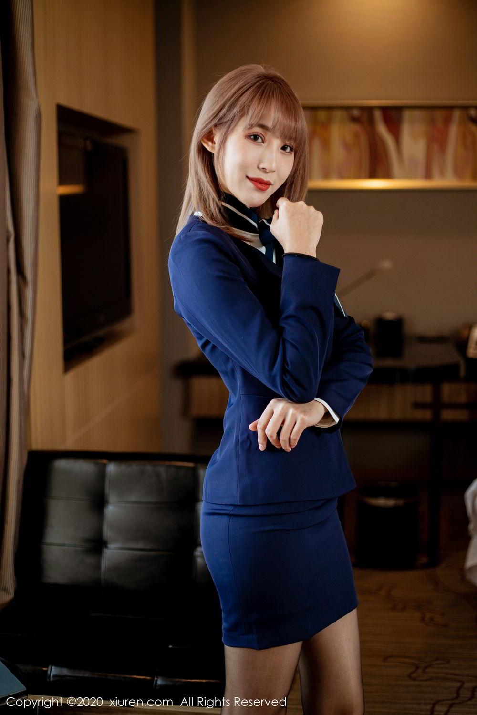 [XiuRen] Vol.2224 Zhou Mu Xi 6P, Black Silk, Underwear, Uniform, Xiuren, Zhou Mu Xi