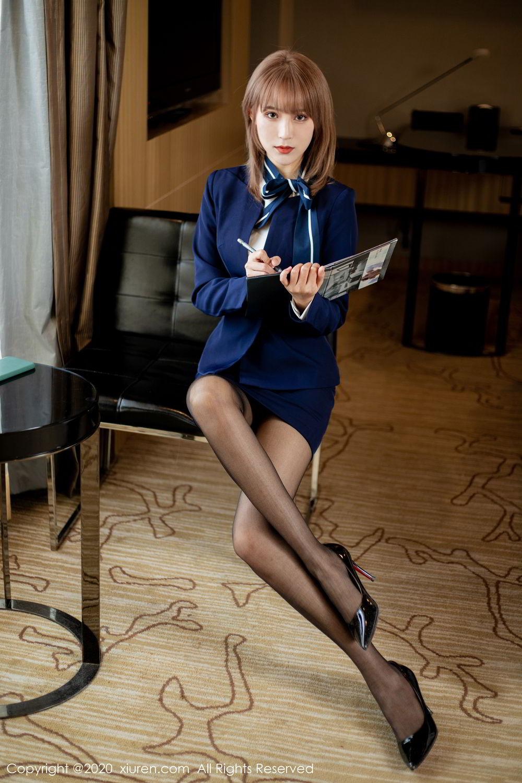 [XiuRen] Vol.2224 Zhou Mu Xi 7P, Black Silk, Underwear, Uniform, Xiuren, Zhou Mu Xi