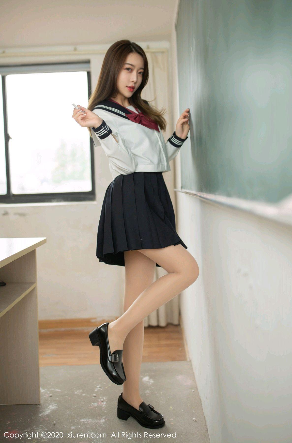 [XiuRen] Vol.2230 Xia Shi Wen 17P, School Uniform, Tall, Underwear, Xia Shi Shi, Xiuren