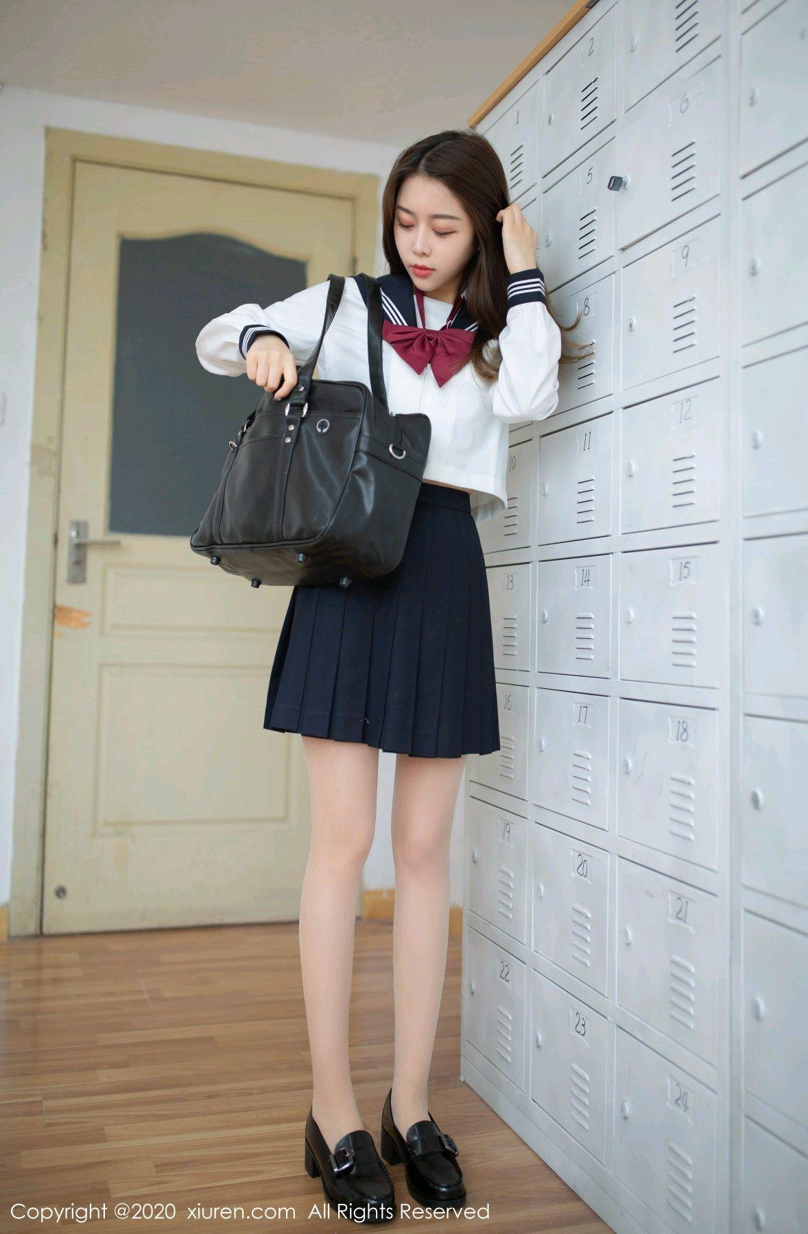 [XiuRen] Vol.2230 Xia Shi Wen 1P, School Uniform, Tall, Underwear, Xia Shi Shi, Xiuren