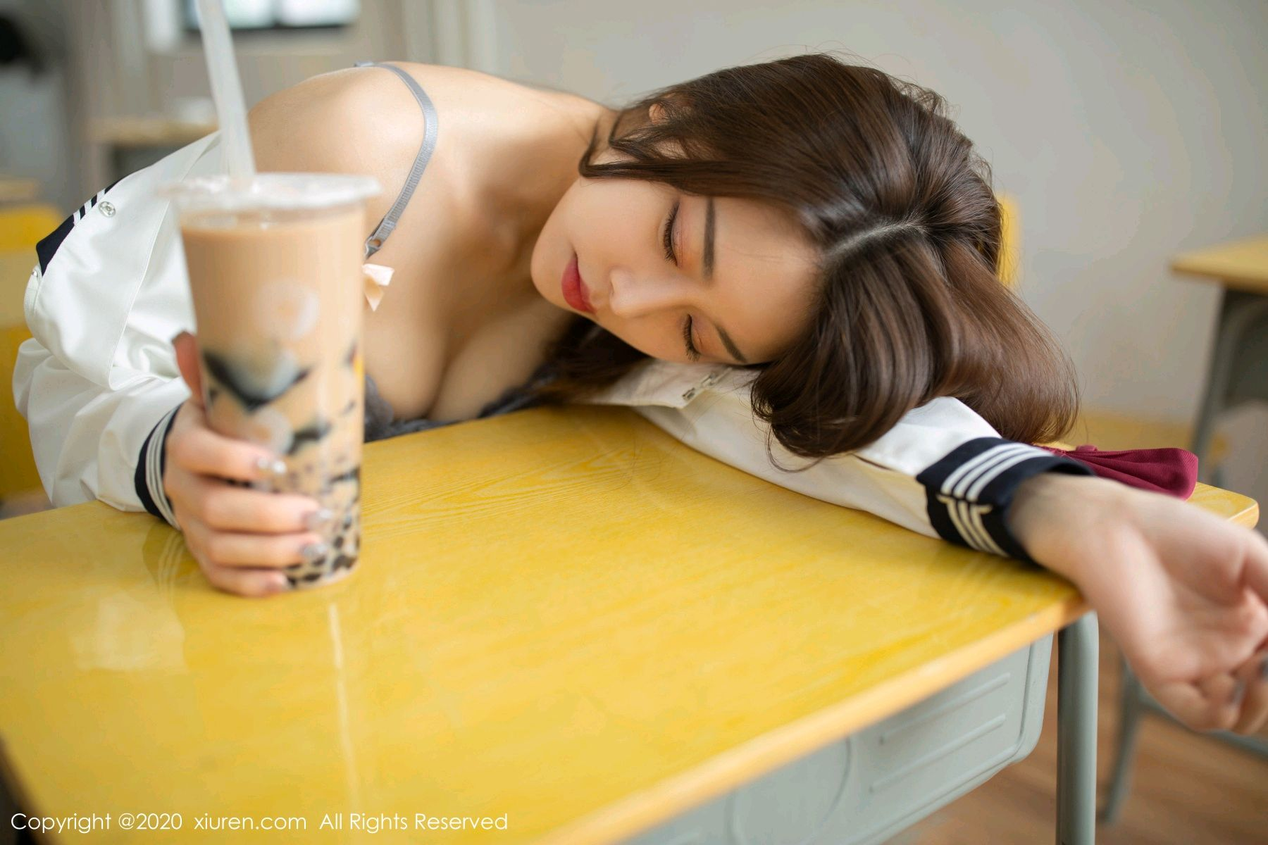 [XiuRen] Vol.2230 Xia Shi Wen 34P, School Uniform, Tall, Underwear, Xia Shi Shi, Xiuren