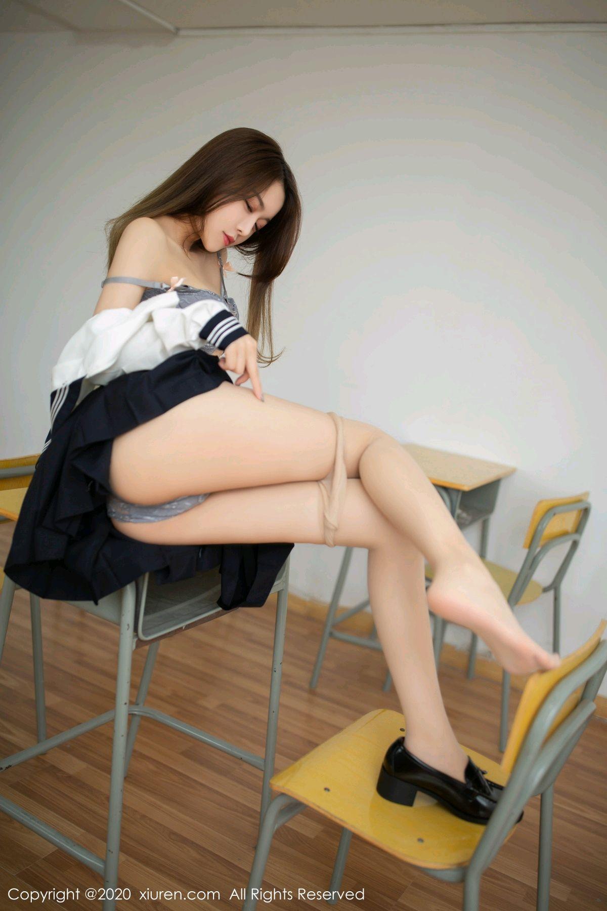 [XiuRen] Vol.2230 Xia Shi Wen 43P, School Uniform, Tall, Underwear, Xia Shi Shi, Xiuren