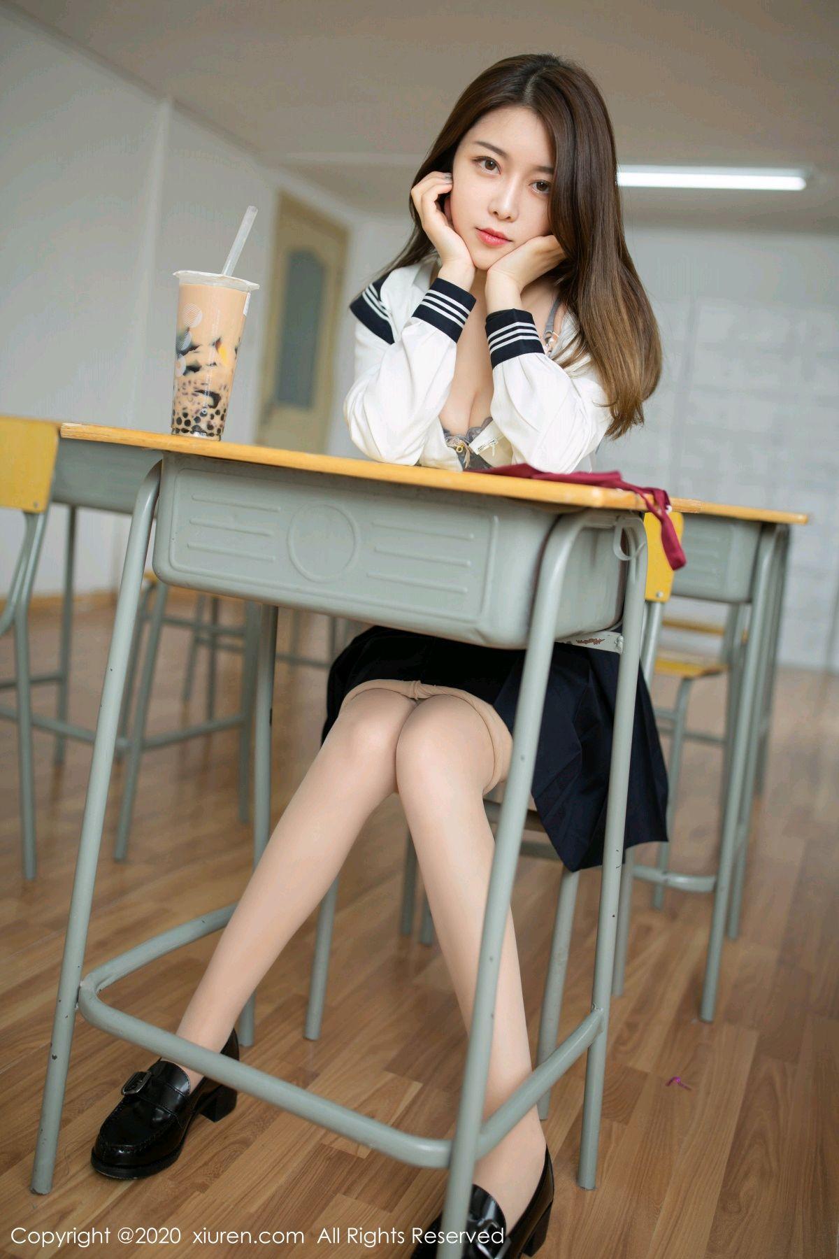 [XiuRen] Vol.2230 Xia Shi Wen 4P, School Uniform, Tall, Underwear, Xia Shi Shi, Xiuren
