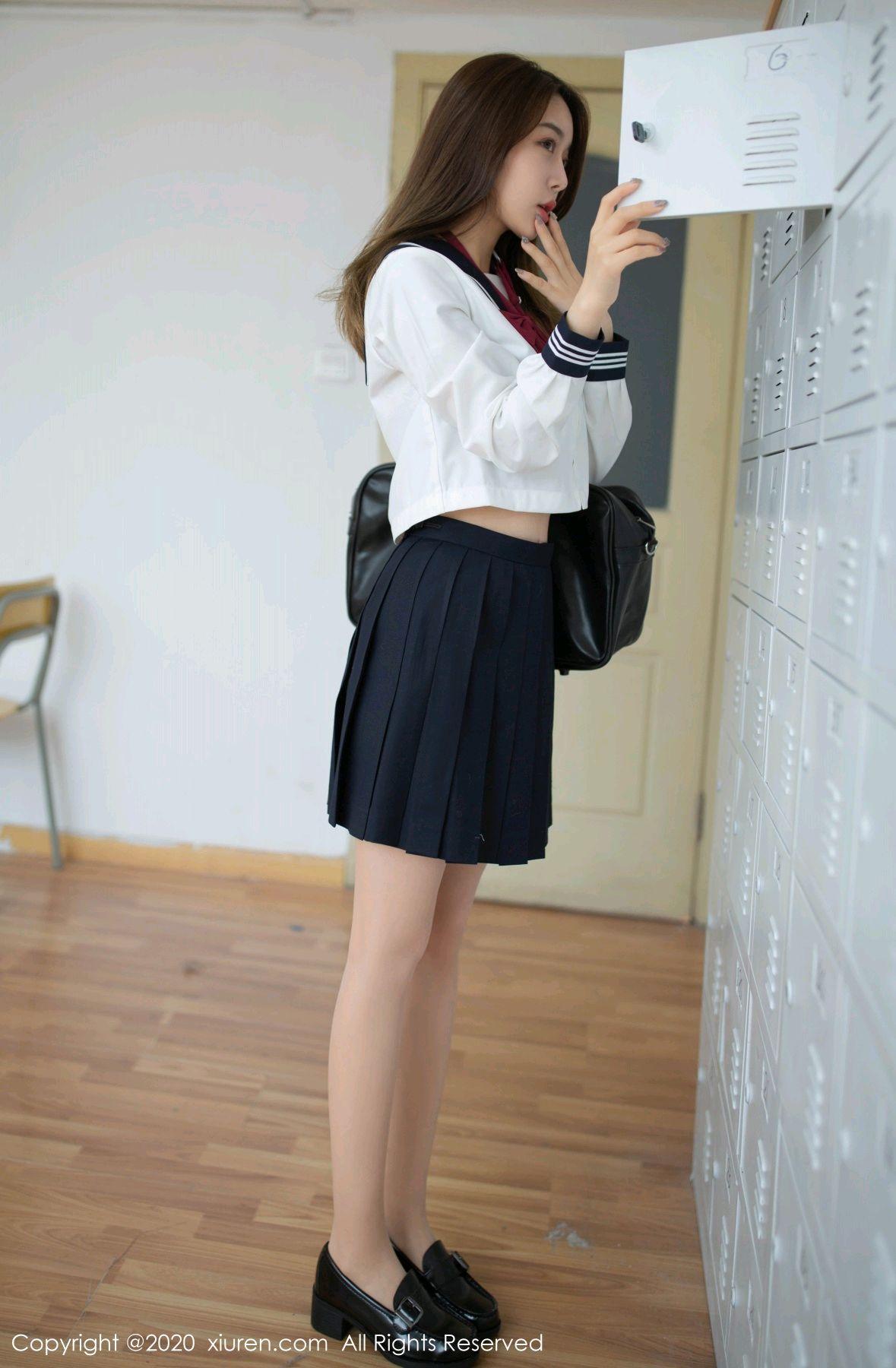 [XiuRen] Vol.2230 Xia Shi Wen 7P, School Uniform, Tall, Underwear, Xia Shi Shi, Xiuren