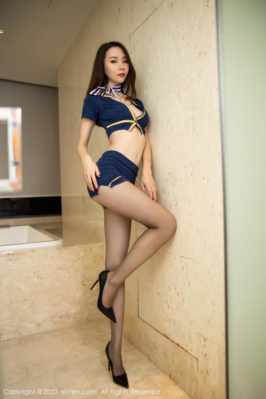 [XiuRen] Vol.2234 Meng Xin Yue 15P, Black Silk, Meng Xin Yue, Stewardess, Tall, Underwear, Uniform, Xiuren