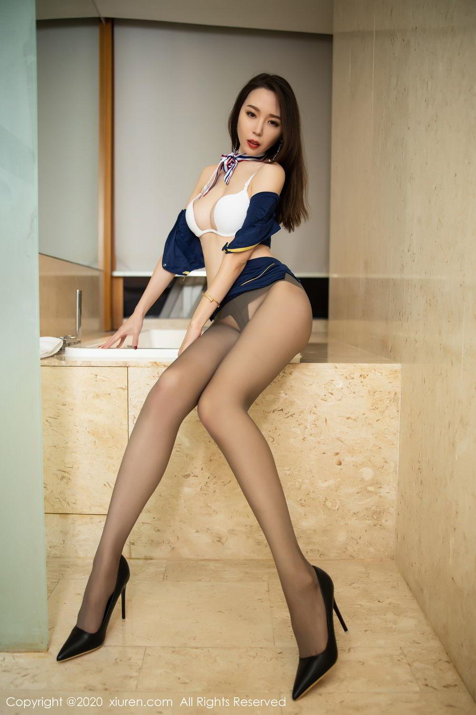 [XiuRen] Vol.2234 Meng Xin Yue 1P, Black Silk, Meng Xin Yue, Stewardess, Tall, Underwear, Uniform, Xiuren
