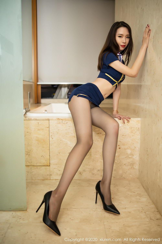 [XiuRen] Vol.2234 Meng Xin Yue 20P, Black Silk, Meng Xin Yue, Stewardess, Tall, Underwear, Uniform, Xiuren