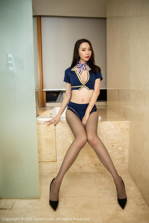 [XiuRen] Vol.2234 Meng Xin Yue 25P, Black Silk, Meng Xin Yue, Stewardess, Tall, Underwear, Uniform, Xiuren