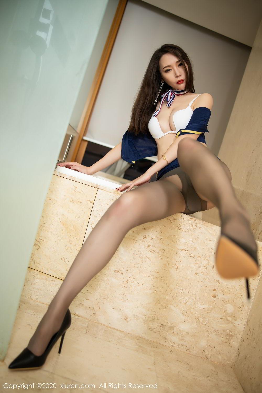 [XiuRen] Vol.2234 Meng Xin Yue 43P, Black Silk, Meng Xin Yue, Stewardess, Tall, Underwear, Uniform, Xiuren