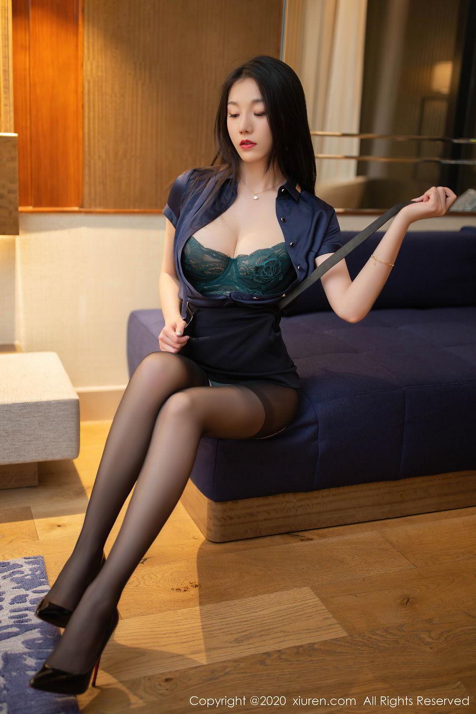[XiuRen] Vol.2242 An Ran Maleah 34P, An Ran Maleah, Black Silk, Underwear, Uniform, Xiuren