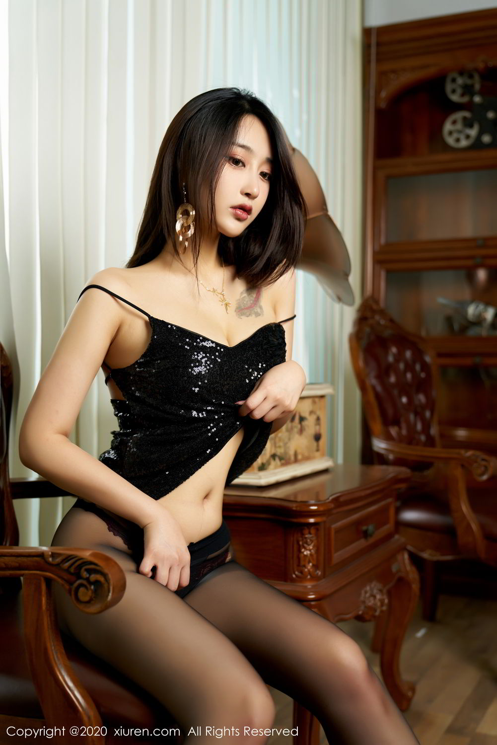 [XiuRen] Vol.2247 Lin Zi Xin 54P, Black Silk, Lin Zi Xin, Tall, Uniform, Xiuren