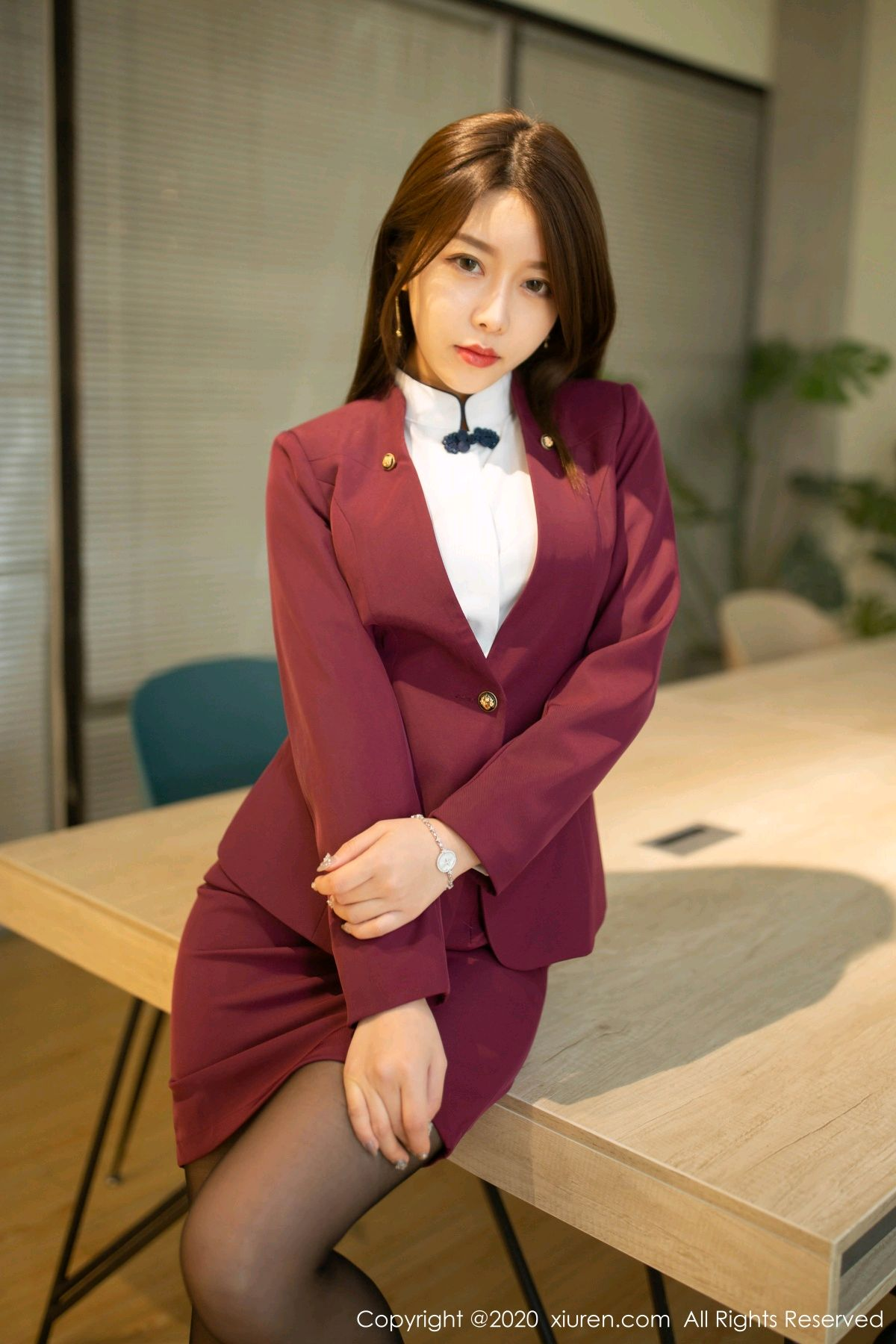 [XiuRen] Vol.2251 Xia Shi Wen 10P, Black Silk, Tall, Uniform, Xia Shi Shi, Xiuren