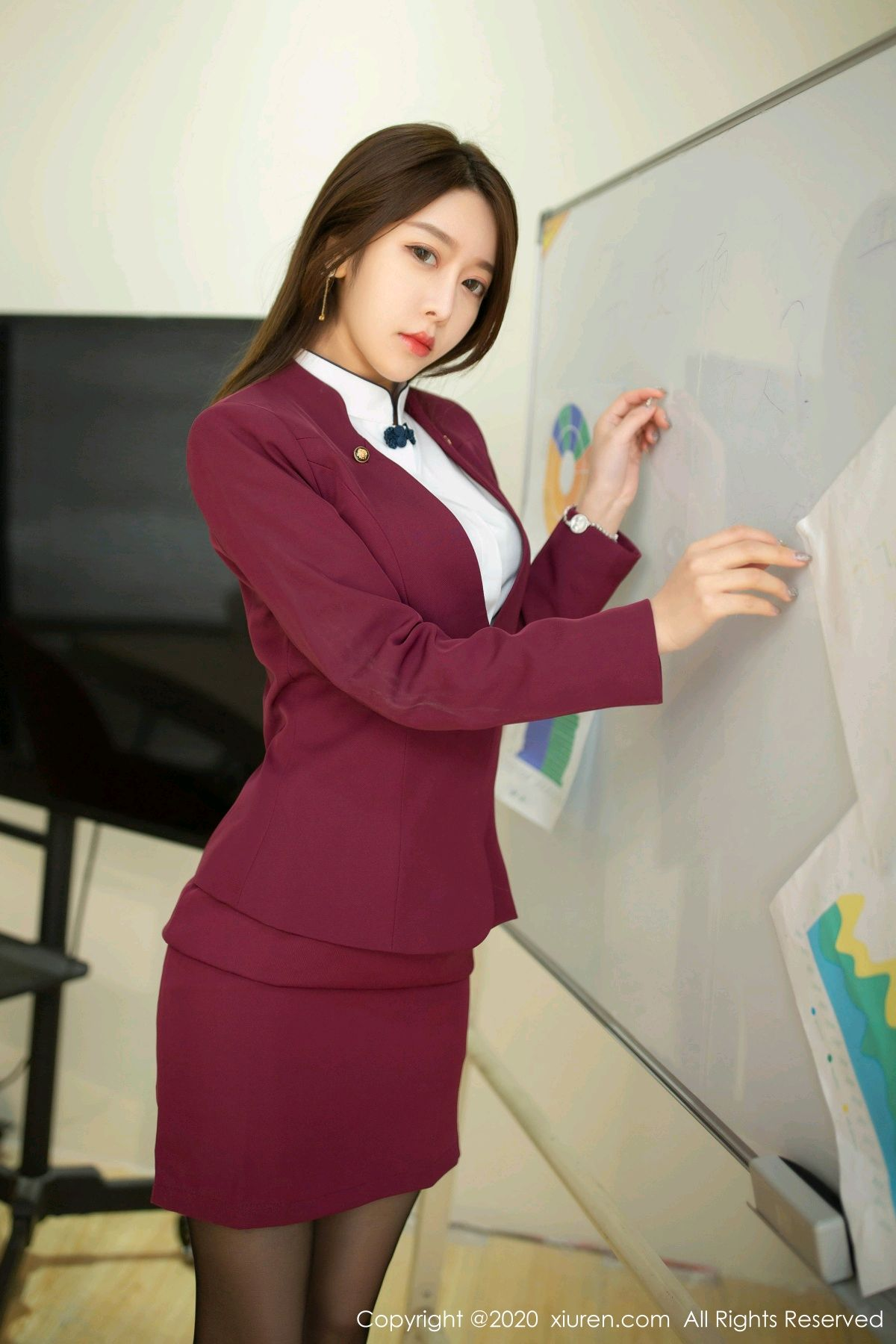 [XiuRen] Vol.2251 Xia Shi Wen 13P, Black Silk, Tall, Uniform, Xia Shi Shi, Xiuren