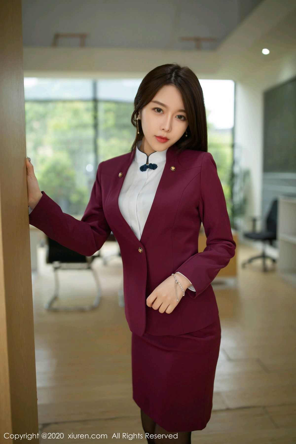 [XiuRen] Vol.2251 Xia Shi Wen 15P, Black Silk, Tall, Uniform, Xia Shi Shi, Xiuren