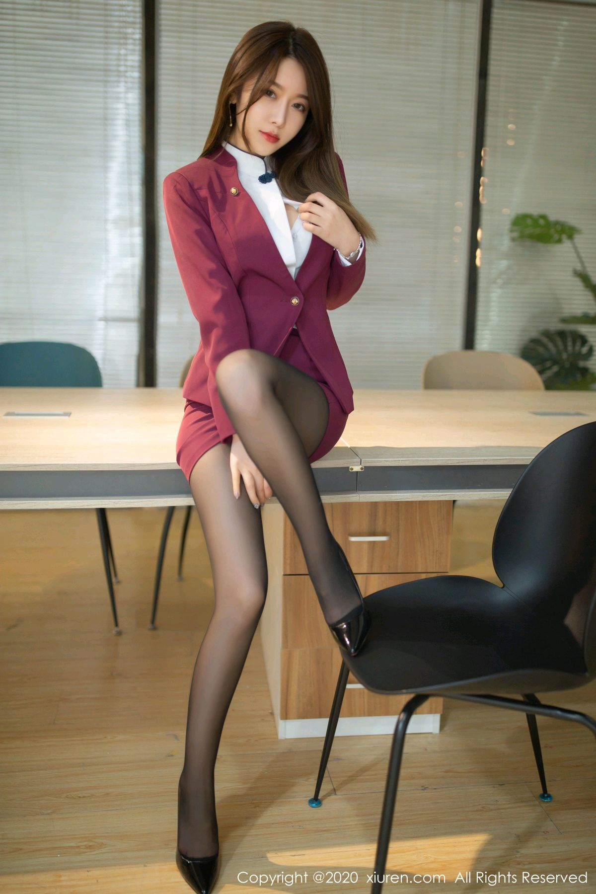 [XiuRen] Vol.2251 Xia Shi Wen 20P, Black Silk, Tall, Uniform, Xia Shi Shi, Xiuren