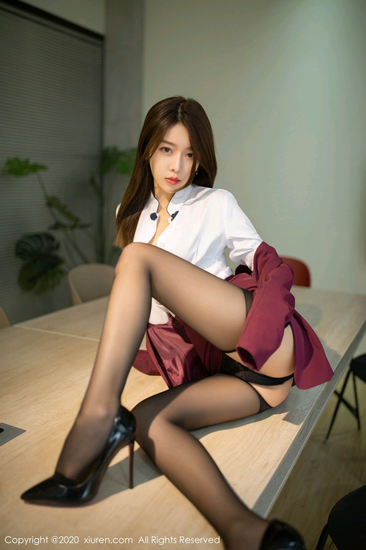 [XiuRen] Vol.2251 Xia Shi Wen 25P, Black Silk, Tall, Uniform, Xia Shi Shi, Xiuren
