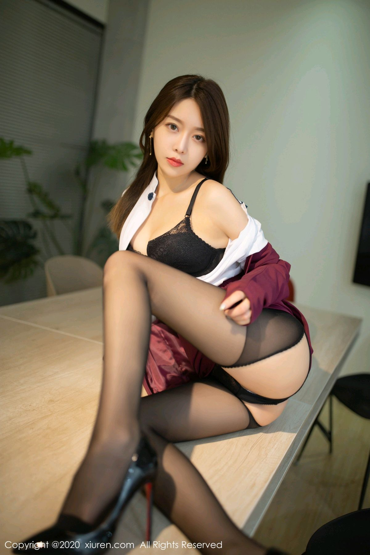 [XiuRen] Vol.2251 Xia Shi Wen 26P, Black Silk, Tall, Uniform, Xia Shi Shi, Xiuren