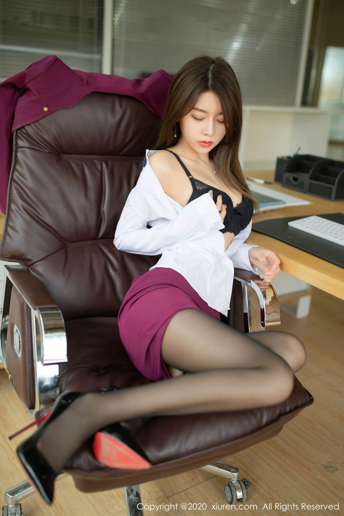 [XiuRen] Vol.2251 Xia Shi Wen 33P, Black Silk, Tall, Uniform, Xia Shi Shi, Xiuren