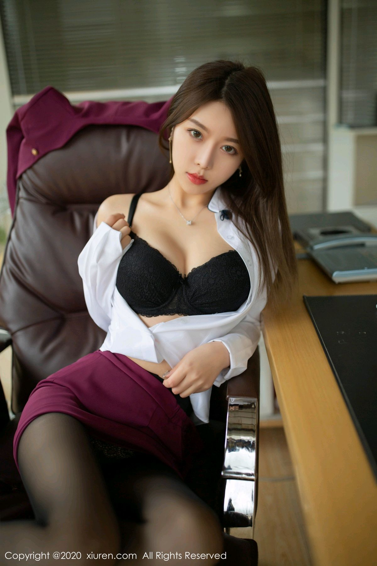 [XiuRen] Vol.2251 Xia Shi Wen 34P, Black Silk, Tall, Uniform, Xia Shi Shi, Xiuren
