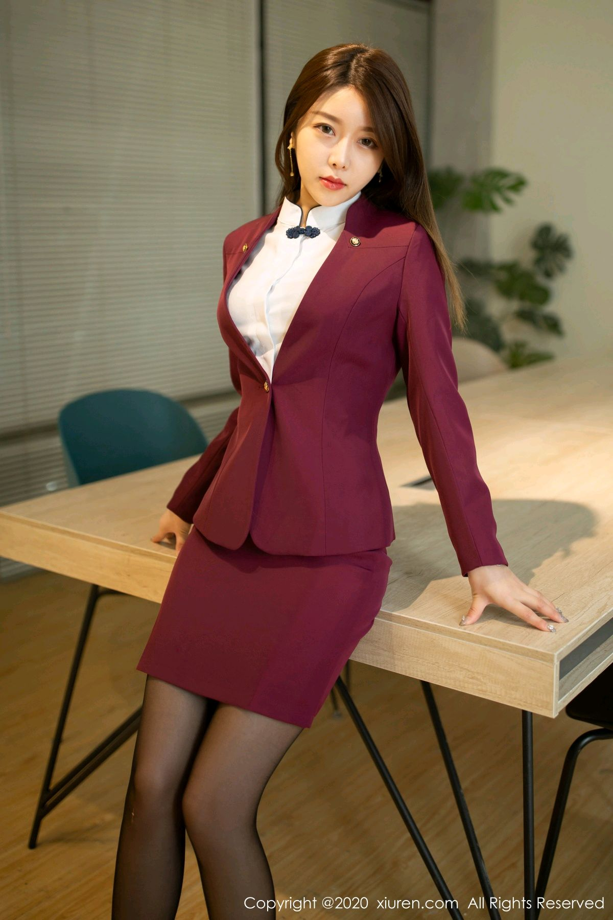 [XiuRen] Vol.2251 Xia Shi Wen 7P, Black Silk, Tall, Uniform, Xia Shi Shi, Xiuren