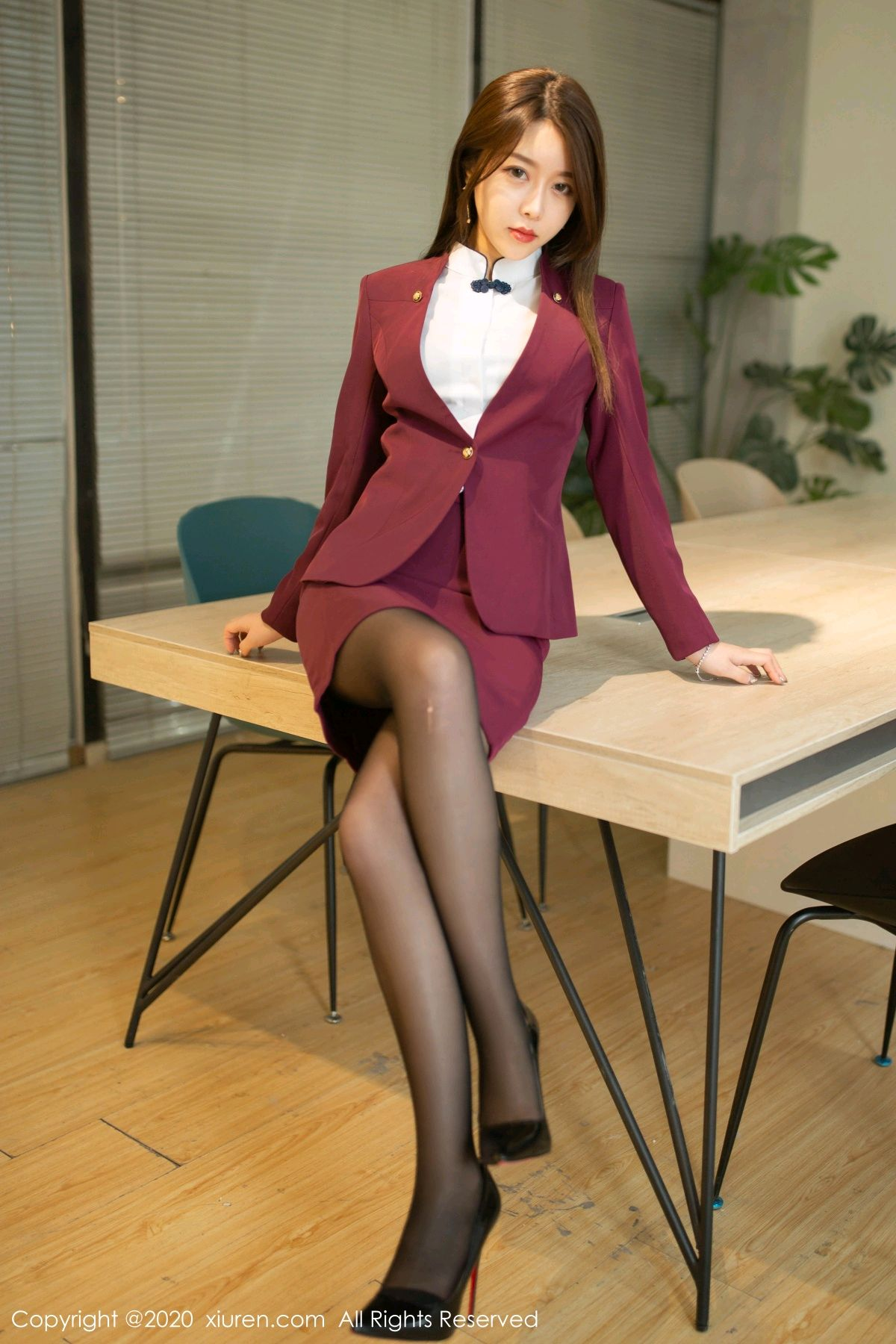 [XiuRen] Vol.2251 Xia Shi Wen 8P, Black Silk, Tall, Uniform, Xia Shi Shi, Xiuren