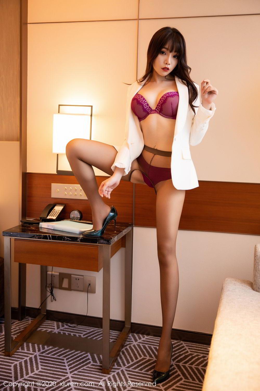 [XiuRen] Vol.2256 Zhi Zhi Booty 43P, Black Silk, Chen Zhi, Uniform, Xiuren