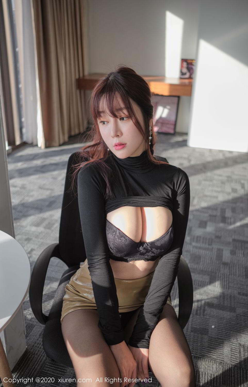 [XiuRen] Vol.2259 Wang Yu Chun 38P, Black Silk, Mature, Underwear, Wang Yu Chun, Xiuren