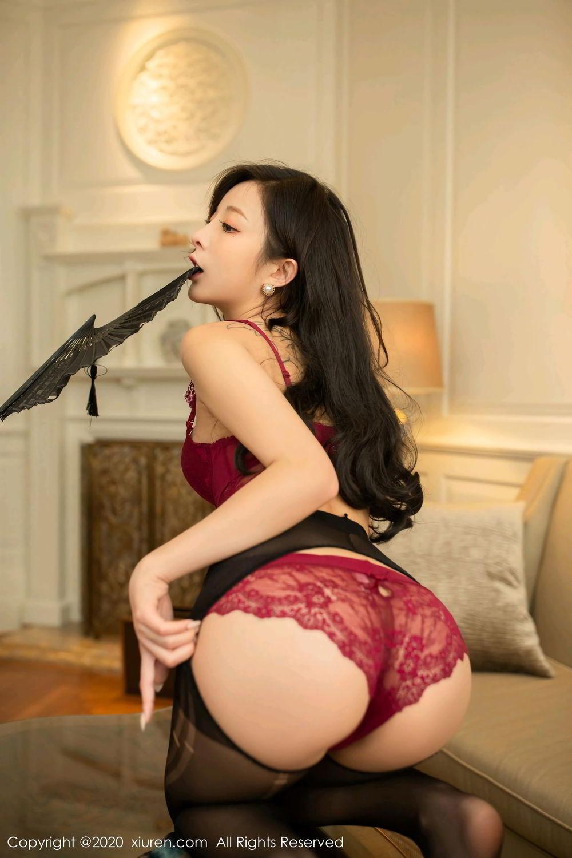 [XiuRen] Vol.2272 Chen Xiao Miao 11P, Black Silk, Chen Xiao Miao, Cheongsam, Tall, Underwear, Xiuren