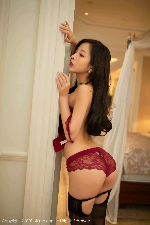 [XiuRen] Vol.2272 Chen Xiao Miao 20P, Black Silk, Chen Xiao Miao, Cheongsam, Tall, Underwear, Xiuren