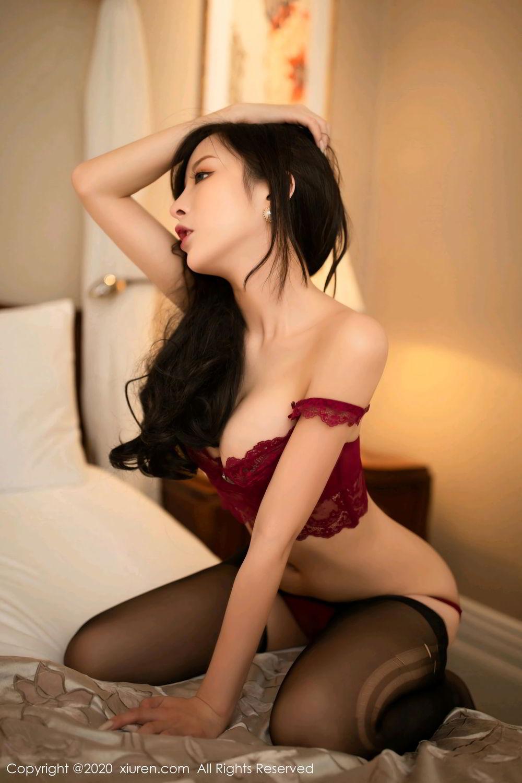 [XiuRen] Vol.2272 Chen Xiao Miao 24P, Black Silk, Chen Xiao Miao, Cheongsam, Tall, Underwear, Xiuren