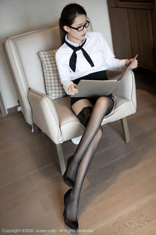 [XiuRen] Vol.2285 Xu An An 23P, Black Silk, Uniform, Xiuren, Xu An An