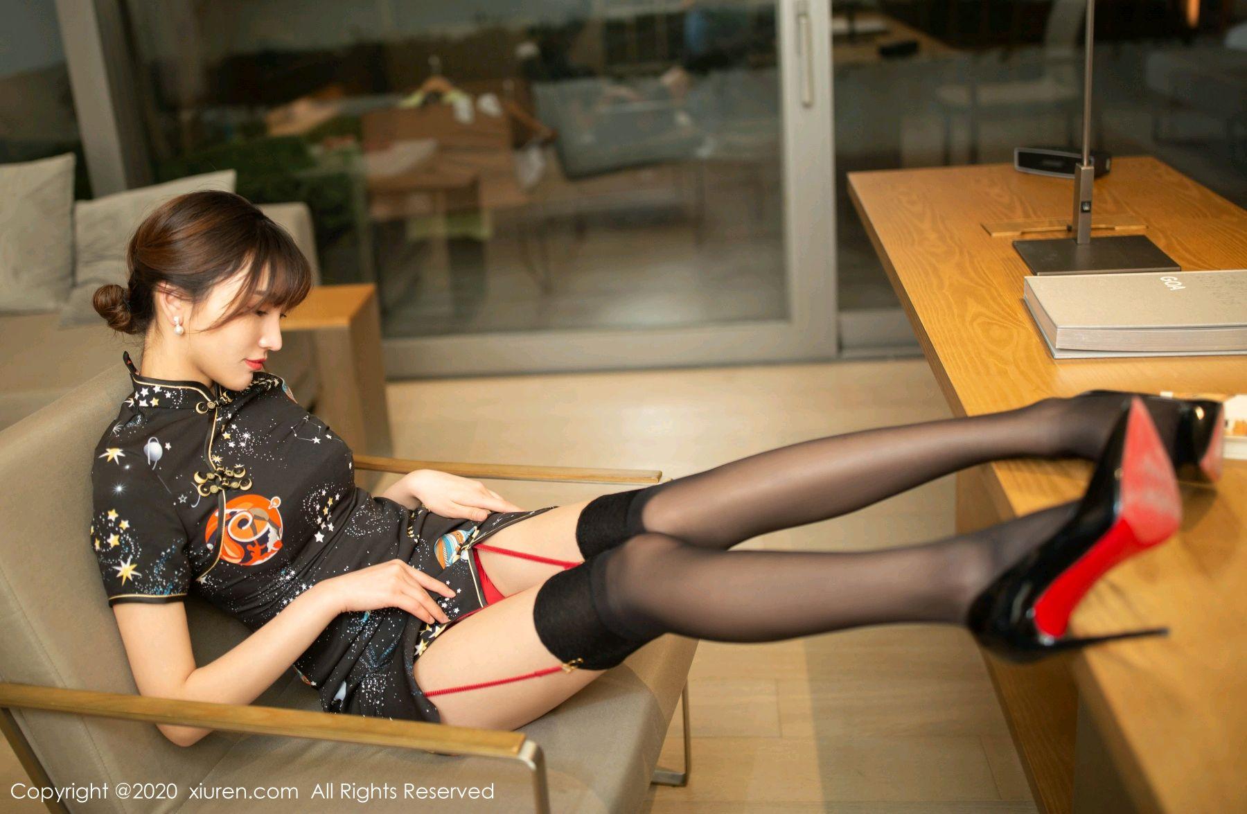 [XiuRen] Vol.2289 Lu Xuan Xuan 5P, Black Silk, Cheongsam, Lu Xuan Xuan, Underwear, Xiuren