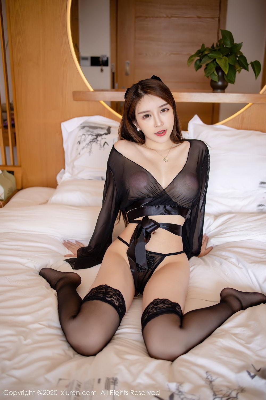 [XiuRen] Vol.2292 Yu Tu Miki 10P, Black Silk, Underwear, Xiuren, Yu Tu M I K I