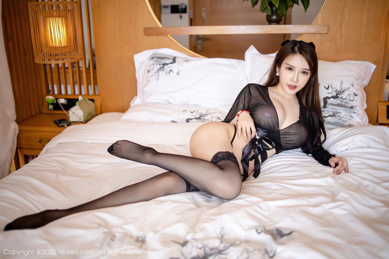 [XiuRen] Vol.2292 Yu Tu Miki 11P, Black Silk, Underwear, Xiuren, Yu Tu M I K I