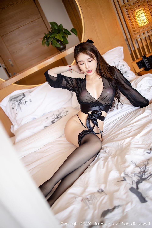 [XiuRen] Vol.2292 Yu Tu Miki 13P, Black Silk, Underwear, Xiuren, Yu Tu M I K I